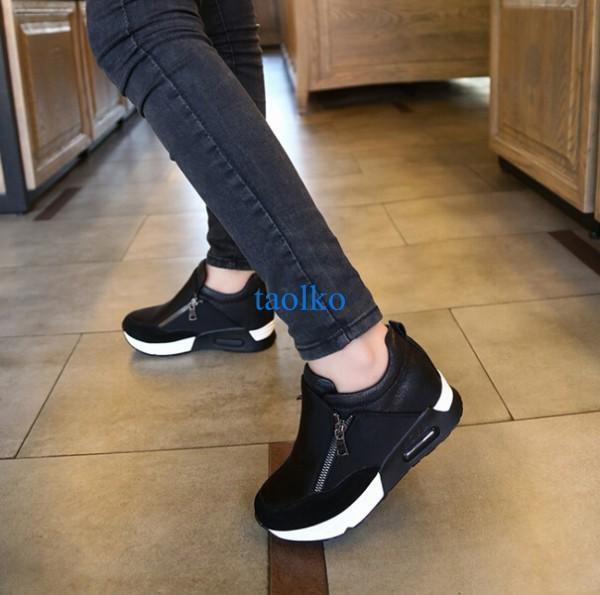 Women's casual fashion sneakers sports wedge heel jogging zipper trainer shoes