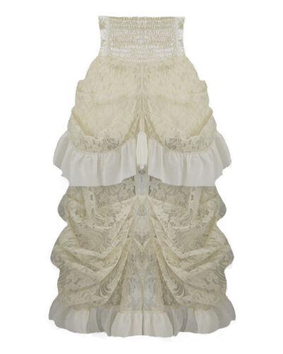 Banned Steampunk Rock Brokat Spitze Gothic Lolita Creme Weiß Beige Skirt SBN201