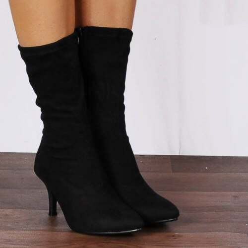 BLACK STRETCH SOCK KITTEN HEELED HEELS ANKLE BOOTS SHOES SIZE 3 4 5 6 7 8