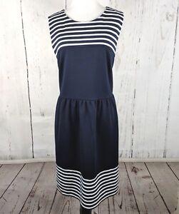 Ann Taylor Loft Sleeveless Sheath Dress 14 Navy Blue