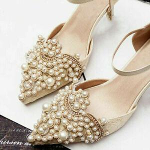 2pcs-Pearl-Flower-Shoe-Clip-amp-Rhinestones-Iron-on-Pearl-Patch-Badge-Applique-Hi