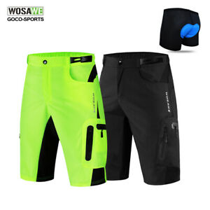 Mens-Baggy-Cycling-Shorts-Padded-Underwear-MTB-Bike-Bicycle-Short-Pants-Green