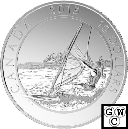 17338 2015 Windsurfing-Adventure Canada Proof $10 Silver Coin 1//2oz .9999 Fine