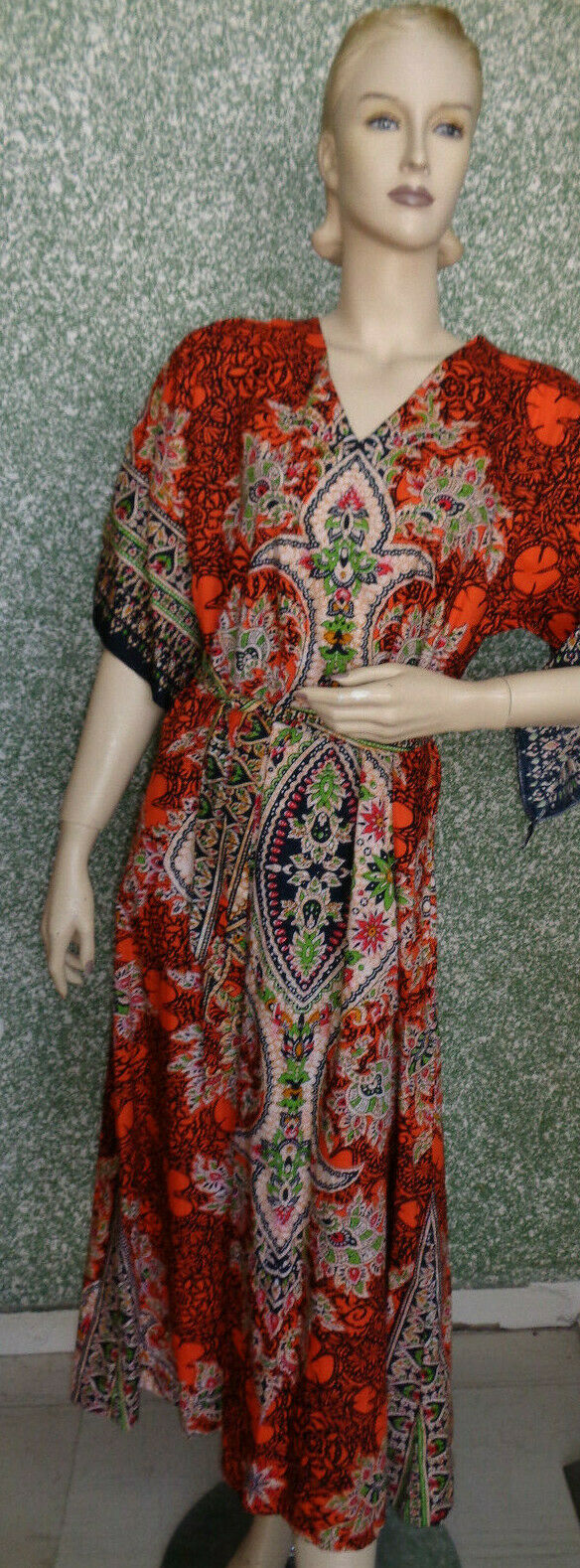 17 12 Damen Kleid Gr. L Orange schwarz bunt Vintage Hippie Stil Flower Power