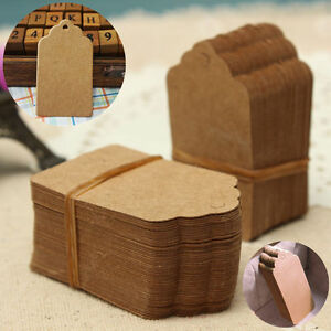 100-Brown-Kraft-Paper-Gift-Tags-Christmas-Scallop-Label-Blank-Luggage-String-v