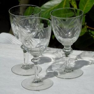 Lorraine-Lemberg-Nancy-Lot-de-3-verres-a-vin-rouge-en-cristal-taille-Debut-Xx