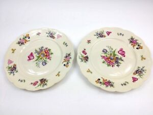 Vintage-Royal-Bayreuth-Bavaria-Garden-Flowers-7-7-8-034-Salad-Plate-Set-of-2