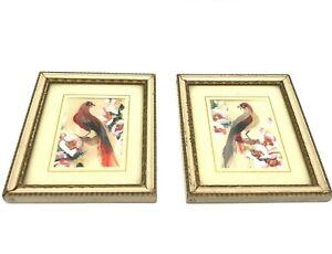 Vintage Glenn F. Bastian Set of 2 'Red Parrot'  'Green Parrot' Bird Feather Art