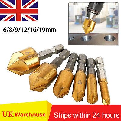 6x 5 Flute Countersink Drill Bit Set 90°Hex Shank Chamfer Cutter Tool Best