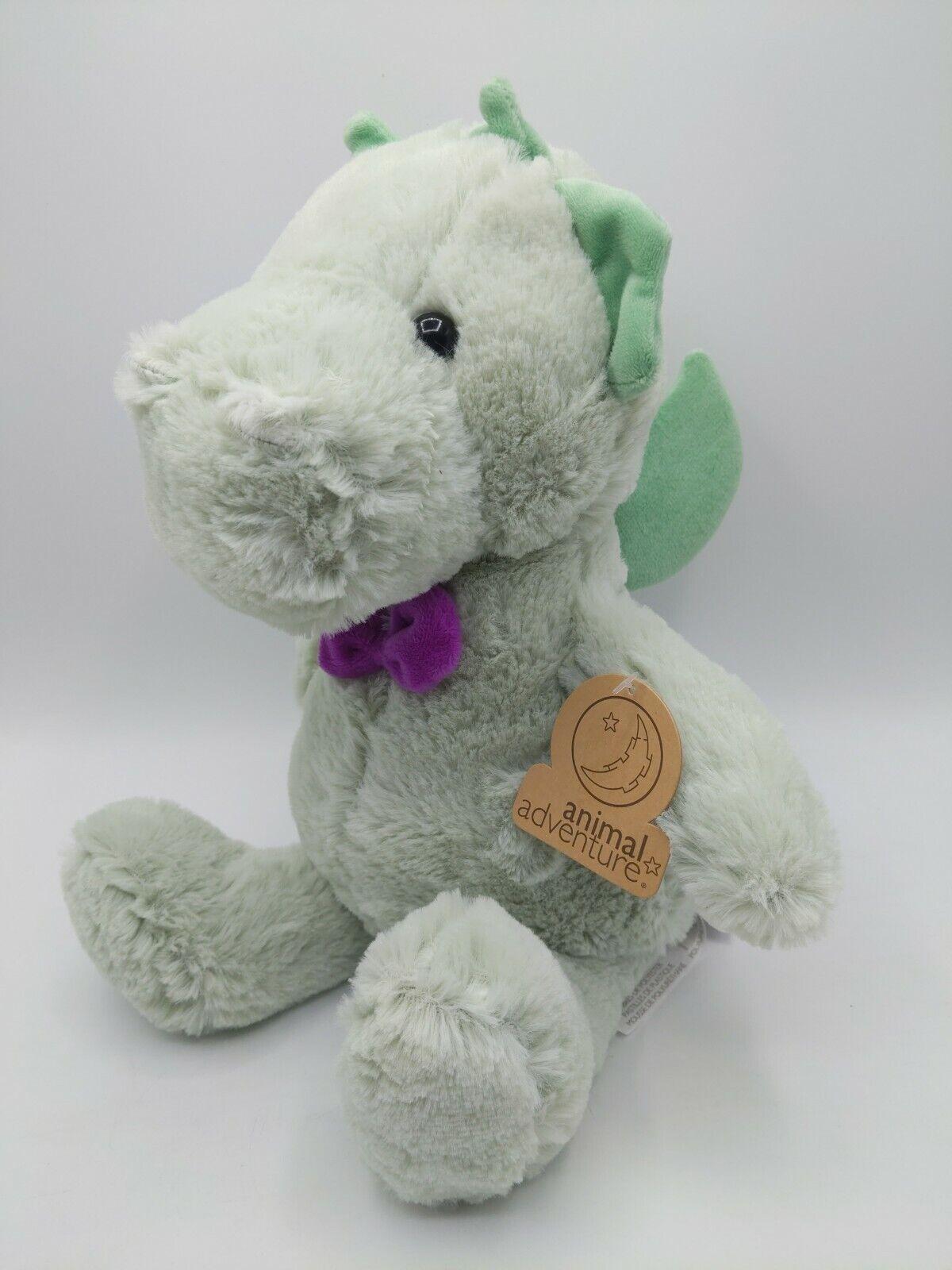 "Animal Adventure Green Dragon 11"" Purple Bow Plush Stuffed Animal NEW"
