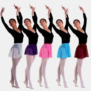 Damen-Kinder-Ballett-Wickelrock-Chiffon-Ballettrock-Roeckchen-3-Groessen-10-Farben