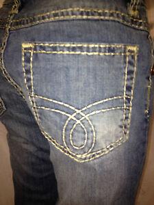 damen jeans hose gr 44 blau mit dicken n hten ziern hten 98 baumwolle ebay. Black Bedroom Furniture Sets. Home Design Ideas
