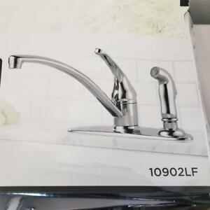 details about delta foundations chrome 1 handle deck mount low arc kitchen faucet 10902lf