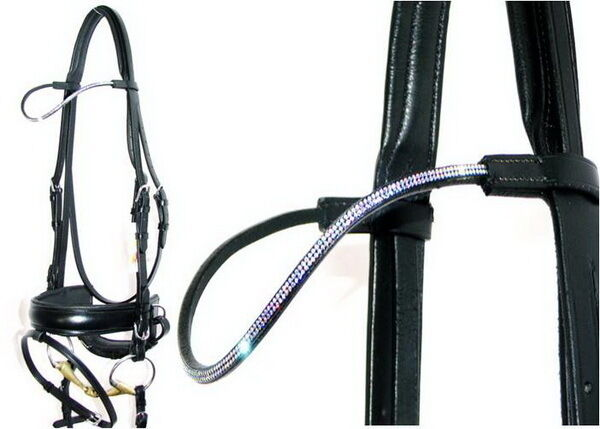 FSS VEGA 2 row TINY CLEAR Crystal AB Curve Crystal CLEAR WAVE Bling Comfort Patent Bridle NEW 94bf89