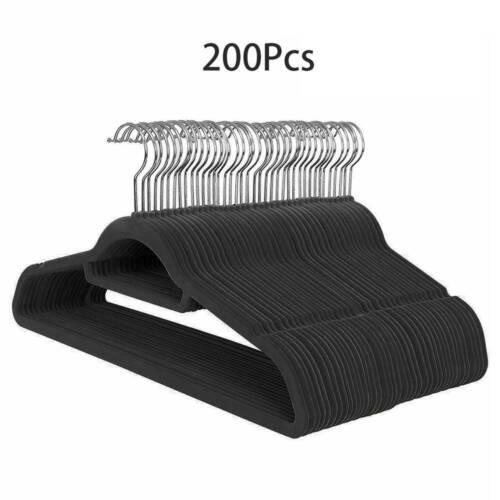 50//100//200Pack Black Velvet Hangers Non Slip Space Saving Coat Hangers With Hook