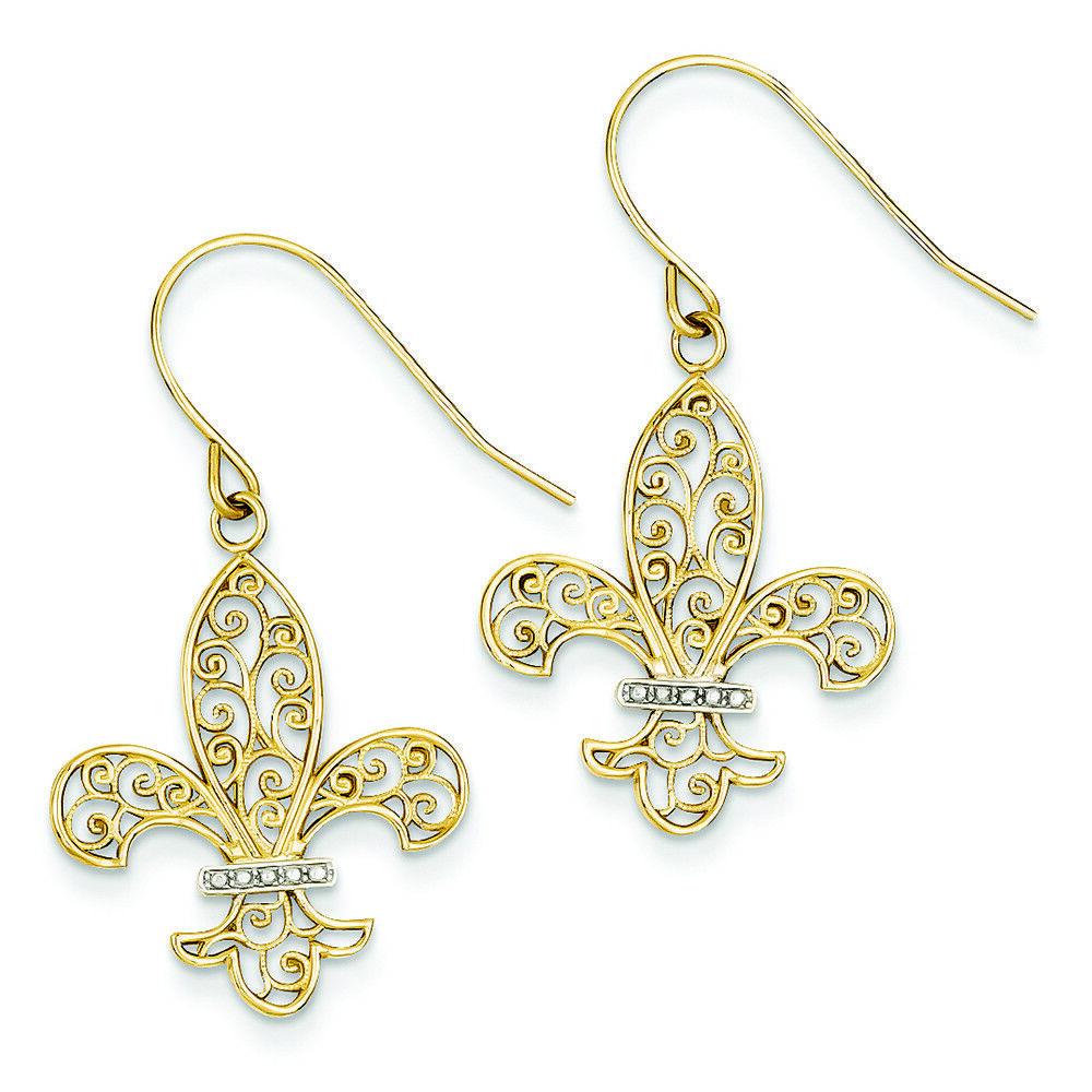 14K Two-Tone gold Filigree Fleur De Lis Dangle Shepherd Hook Earrings MSRP  371