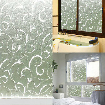 Home Frosted Glass Privacy Scroll Flower Window Static Cling Self Adhesiv Film