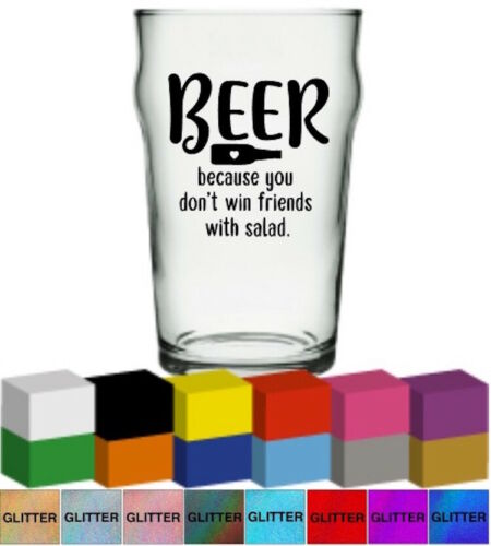 Sticker// Graphic Beer Because you don/'t win friends Vinyl Glass Mug Decal
