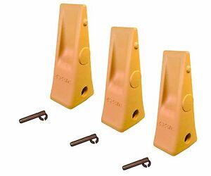 3 - CAT Style Backhoe / Loader Bucket Dirt Teeth w pins & retainers - 1U3252