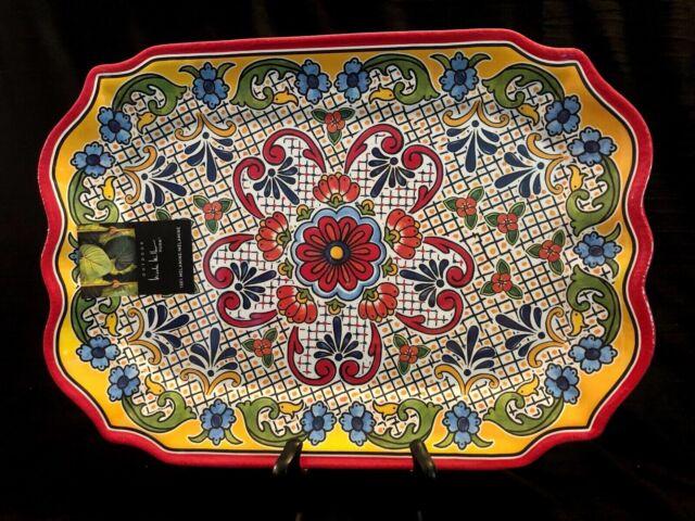 Serving Plates Tommy Bahama Spanish Blue Floral Medallion Melamine Serving Tray Platter 15x6 SM