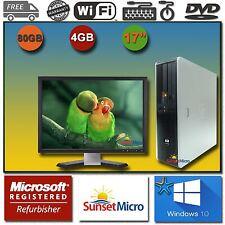 "1 FAST HP Desktop Computer AMD Dual Core 4GB DVD 17"" LCD Monitor Windows 10 WiFi"