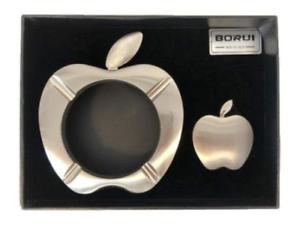 APPLE Elegant Luxury Cigarr Ciggarette Smoke Gift Set Lighter AshTray SILVER