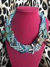 Betsey Johnson Into The Blue Sea Ocean Starfish Crystal Beaded Necklace RARE