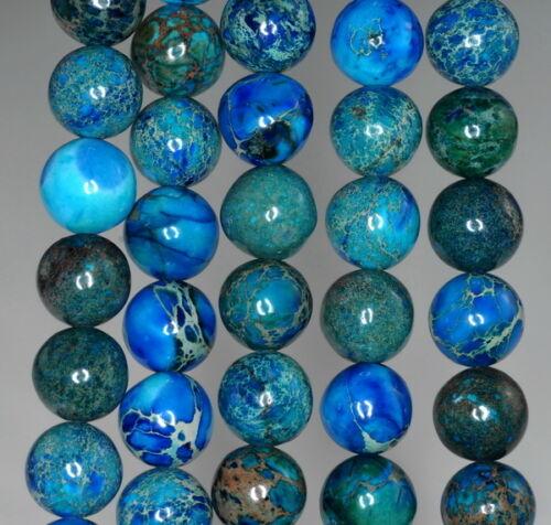 "10MM IMPERIAL JASPER GEMSTONE BLUE ROUND 10MM LOOSE BEADS 7.5/"""