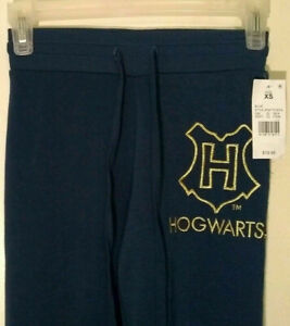 Harry-Potter-Kids-Women-039-s-Sweat-Pants-Size-XS-Navy-Blue-Hogwarts-Drawstring