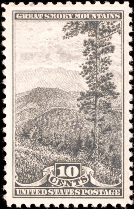 1934 10c Great Smoky Mountains, Gray Black Scott 749 Mi