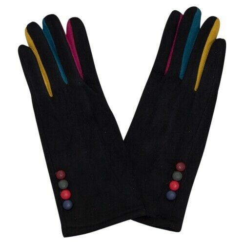 Multi Colour Button Winter Gloves Women Warm Cosy Mittens 3817603 Ladies Black