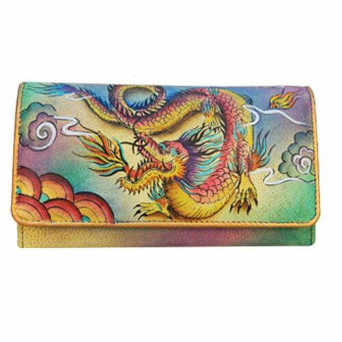 Anuschka Hand Painted Genuine Leather Accordion Flap Wallet Imperial Dragon