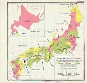 Details about 1945 CIA declassified map Japan Food Sufficiency World War 2  WWII