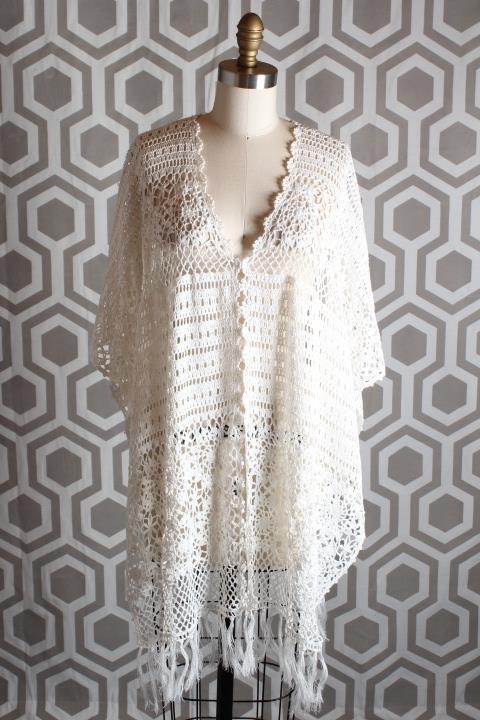 NWT Alice & Olivia Milena Crochet Poncho Top XS Small XS-S  485 Off Weiß