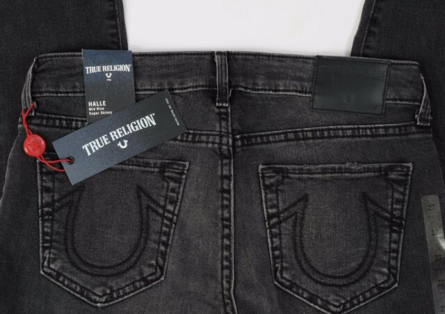 NEW True Religion Jeans HALLE Mid Rise Super Skinny size 27 Black Cuffs Distress