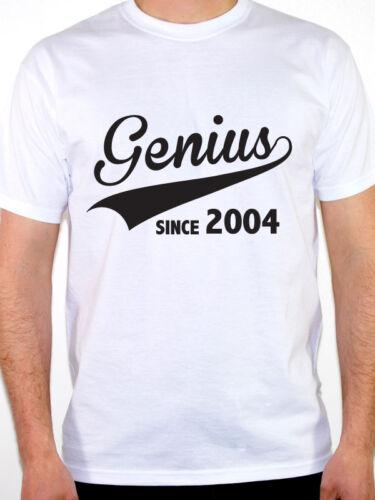 Birth Year Birthday Gift Novelty Themed Men/'s T-Shirt GENIUS SINCE 2004