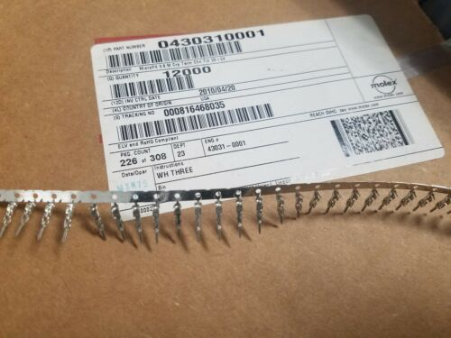 100 Pasadores Molex 43031-0001 Macho Crimp Terminales Micro 20-24 AWG caber 043031001