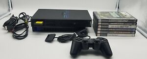 Sony Playstation 2 PS2 FAT Black Console Bundle W/ Controller, 6x Games & Memory