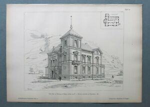 AR85) Architektur Freiburg Baden 1885 Villa Mez Hausansicht Holzstich 28x39cm