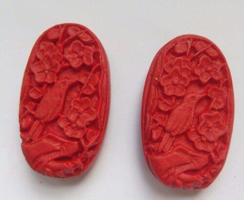 2 Rojo Oval Tallada Pájaro Cinnabar lacquerware grano Joyería//Manualidades del grano 32x18mm