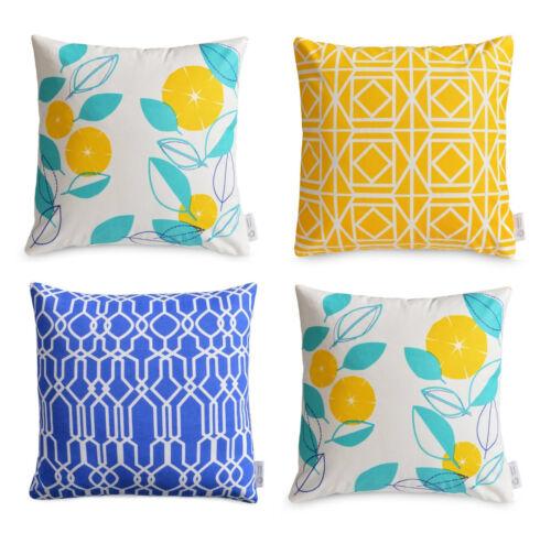 4 x Yellow Aqua Cushion Cover Set Modern FLORAL /& GEOMETRIC throw pillows Cotton