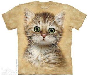 Green-Eye-Kitten-Cat-Shirt-on-Tan-Tee-Mountain-Brand-In-Stock-Small-5X