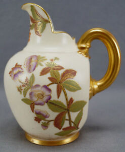 Royal-Worcester-Aesthetic-Period-Hand-Painted-Floral-amp-Gold-Ewer-Pitcher-C-1889
