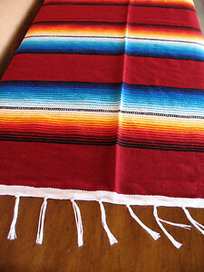 Serape ONWS Maroon Blanket Table Cover Seat Cover Throw