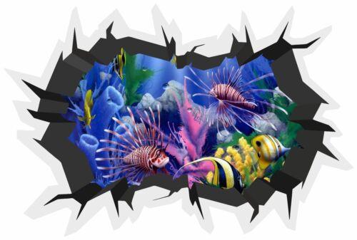3D Brique fissure Mur Coral Reef Fish Autocollant Mur Affiche Vinyl GA24-410
