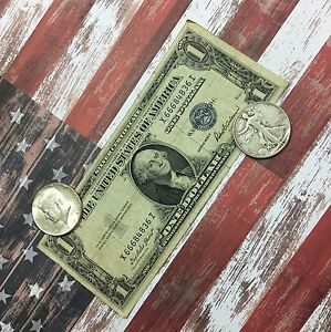 1-00-1935-Silver-Certificate-Walking-Liberty-Half-amp-Kennedy-Half-OLD-COINS