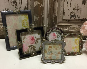 Small Diamante Photo Picture Frame Vintage Style Pretty Jewel Grey
