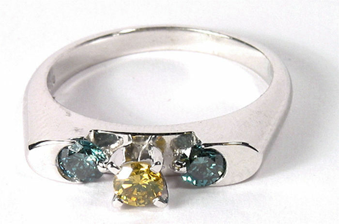 colorful and Unique Yellow and bluee Diamond .60 Carats White gold Ring