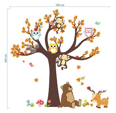 Owls Monkey Tree Wall Sticker Jungle Safari Animal Kids