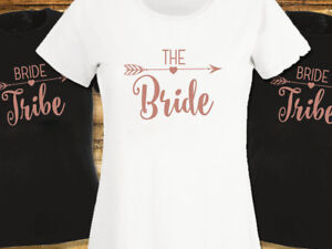 Or-Rose-Mariee-tribu-Enterrement-Vie-Jeune-Fille-T-shirts-Hen-Do-T-Shirt-Femme-Ou-Unisexe